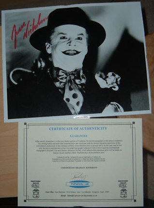"Jack Nicholson signed as the ""Joker"""